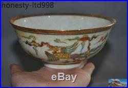 A 6 Marked Old Chinese Wucai porcelain glaze Phoenix bird statue Bowl Cup Bowls
