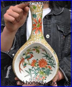 A Old Chinese Wucai porcelain glaze Lucky Flower bird statue Zun Vase Bottle Pot