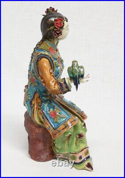 Ancient Chinese Wucai Porcelain Pottery Figurine Statue Oriental Lady Girl Birds