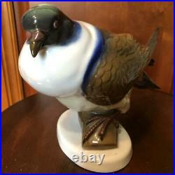 Antique 1920s Statue Porcelain Fraureuth Germany Dove figurine Signed Hand Art