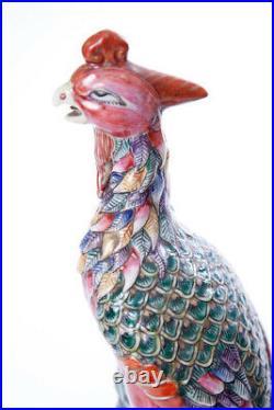 Antique 19th Chinese Original Porcelain Figurine Pair Birds Phoenix 31.5 cm