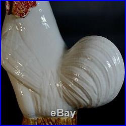 Antique Chinese Export Porcelain Birds Roosters Pair White Glaze Qing/Republic