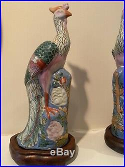 Antique Chinese Famille Rose Enameled Porcelain Phoenix Bird Figure Statues