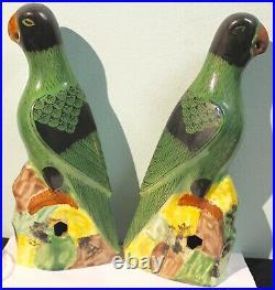 Antique Chinese Pair Porcelain Hawks Parrots Perfect