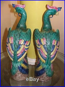 Antique Chinese Porcelain Birds of Paradise Statues Dynasty Marked