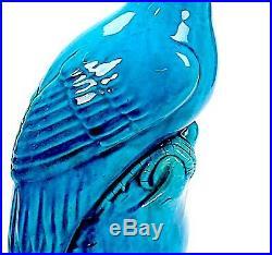Antique Chinese Turquoise Glazed Porcelain Birds Pair Extra Large