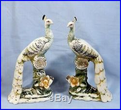 Antique Chinese porcelain peacocks pair circa early Century rarely seen 48