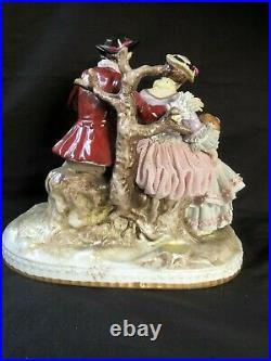Antique Dresden Porcelain Group Large RARE Lace Figural The Bird seller