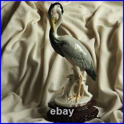 Antique ENS Heron Crane Bird Water Lake River German Porcelain Figure Old Nature
