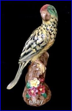Antique European Porcelain Majolica Parrot Figurine Statue 9.5h