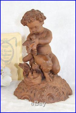 Antique French cute Terracotta Faun Birds nest statue figurine