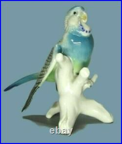Antique Germany Porcelain Budgerigar Parrot Bird Figure Karl Ens Decoration Art
