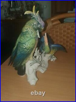 Antique Germany Porcelain Karl ENS Cockatoo Parrot Bird Figurine group Large