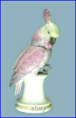 Antique Germany Porcelain Karl ENS Pink Cockatoo Parrot Bird Figure Marked Large