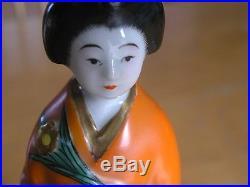 Antique Japanese Porcelain Woman Geisha Bird Pond Figurine Statue Kimono Attire