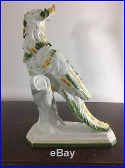 Antique Jumbo Cockatoo Bird Parrot Porcelain Statue Tropical Modern Aesthetic