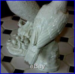 Antique Nymphenburg Blanc de Chine Porcelain Parrot Cockatoo Bird Statue