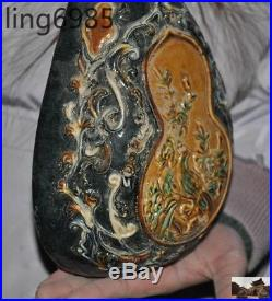 Antique Old Chinese Tang sancai Porcelain Pottery Phoenix bird statue Pipa lute