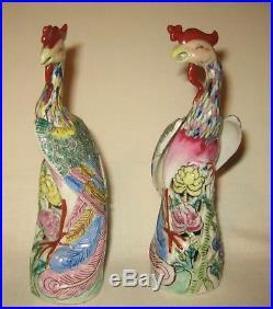 Antique Pair Chinese Porcelain Phoenix Bird Statues