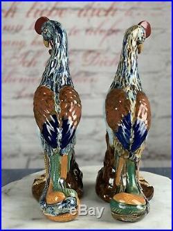 Antique Pair Chinese Porcelain Phoenix Bird Statues 14