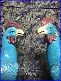 Antique Pair Chinese Porcelain Phoenix Ho Ho Birds Qing / Republic Turquoise