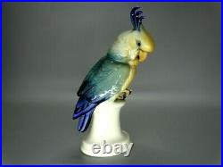 Antique Porcelain Blue Parrot Figurine Karl Ens Germany Art Sculpture Decor Gift