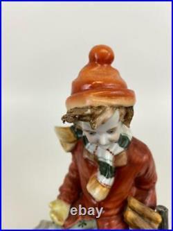 Antique Richard Klemm Dresden Boy Fire Wood Log Birds Porcelain Figurine Statue