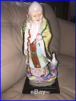 Antique/VTG Chinese Famille Porcelain Buddha Statue God Shou Lao Figure