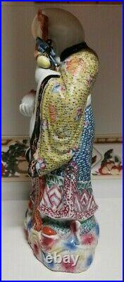Antique chinese porcelain Shoulau and crane statue, late Republic of China