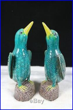 Beautiful chinese blue glaze porcelain kingfishers