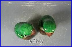 Beautiful chinese green glaze porcelain a pair pirds
