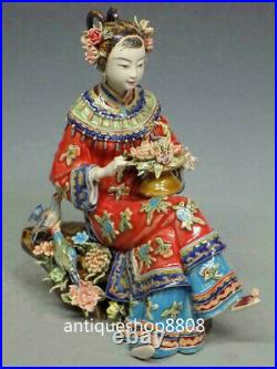 Birds & Flowers Shiwan Chinese Wucai Porcelain Ceramic Lady Doll Women Figurine