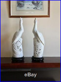 Blanc de chine Antique CHINESE Porcelain Phoenix birds porcelain figurine pair