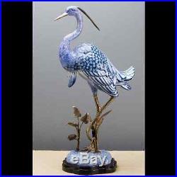 Blue & White Bronze Ormolu Porcelain Egret Bird Statue/Figurine, 24''H
