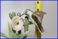 Boehm Porcelain Hummingbird On Cactus 440 Bird Figurine Statue USA Vintage Mint