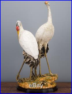 Bronze Ormolu Double Cranes Porcelain Figurine Statue Heron Wading Birds 25''H