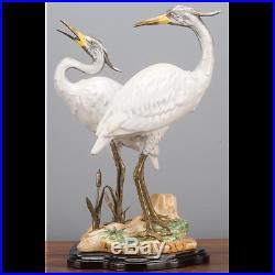 Bronze Ormolu Porcelain Double Egret Bird Statue/Figurine, 15''H