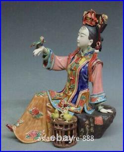 Ceramic / Porcelain Figurine China Qing Concubine Woman Freedom Bird