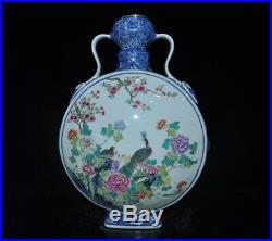 China Blue white Wucai porcelain flower bird Binaural statue Bottle Pot Vase Jar