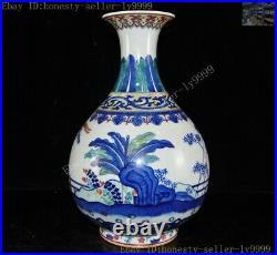 China Blue white porcelain dynasty phoenix bird Zun Bottle Pot Vase Jar Statue