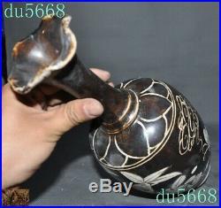 China Cizhou Official kiln porcelain flower bird Zun Bottle Pot Vase Jar Statue