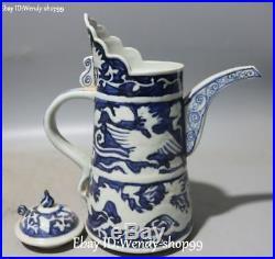 China Color Porcelain Dragon Phoenix Bird Wine Pot Kettle Flask Flagon Statue