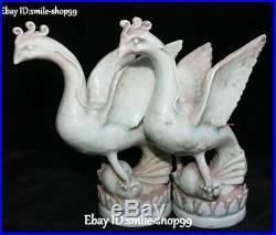 China Color Porcelain Feng Shui Phoenix Phenix Fenghuang Bird Animal Statue Pair
