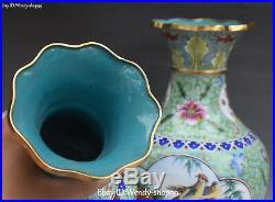 China Color Porcelain Gilt Magpie Bird Flower Vase Bottle Flask Pot Kettle Pair