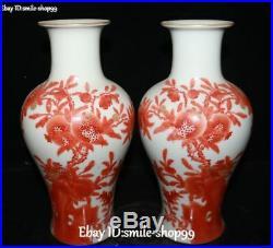 China Color Porcelain pomegranate Flower Tree Magpie Bird Vase Bottle Pot Pair