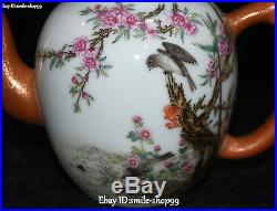 China Enamel Color Porcelain Bird Flower Teapot Wine Kettle Flask Flagon Bottle