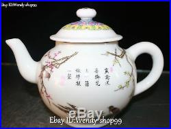 China Enamel Color Porcelain Magpie Bird Plum Flower Tree Wine Pot Kettle Flagon