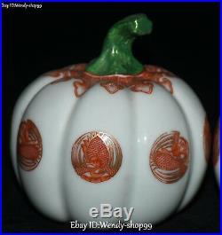 China Enamel Color Porcelain Phoenix Bird Ruyi Pumpkin Squash Cushaw Statue Pair