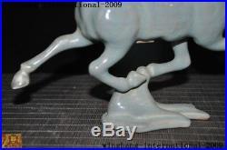 China Feng Shui Longquan kiln porcelain glaze animal horse tread Swallow statue