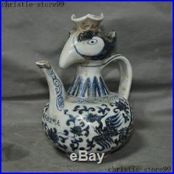 China Old Blue White Porcelain Phoenix Bird God Statue Tea Pot Flagon Hip Flask